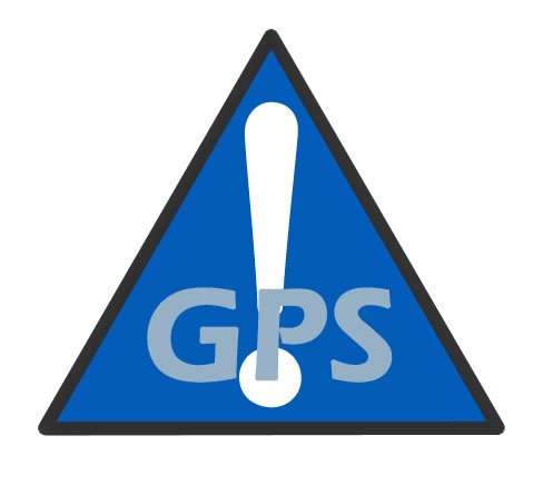 Image is GPS logo- a blue triangle with a white exclamation point superimposed with the letters GPS.